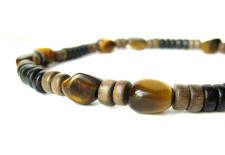 Wood and tiger eye necklace for world adventurers. (By Authentic Arts)