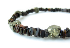 Meteorite Mens Necklace handmade from pyrite and shell.