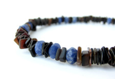 Ol' Blue Eyes sodalite and black shell necklace for men by Authentic Arts.