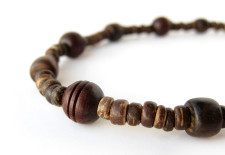 Rosewood and coconut shell necklace for trail hiking men, by Authentic Arts.