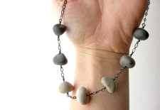Beach stone necklace to bring the grounding energy of stone to work with you.