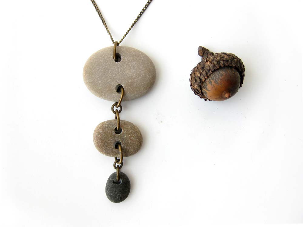 River stone necklace for women who do yoga on the beach at sunrise. By Jenny Hoople of Authentic Arts