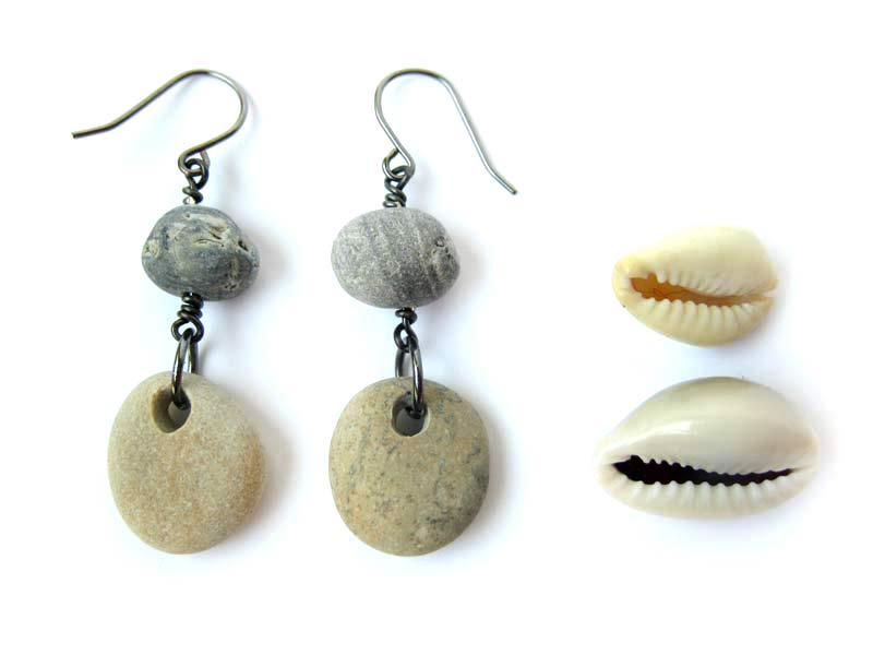Beach stone earrings for sipping wine by the sea.