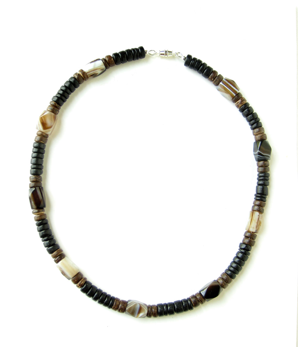 mens handmade necklaces agate and wood handmade mens necklace ceramic sculpture 6063