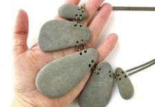 """Slate Petals"" statement necklace to show the world that you're a rock star! (by Jenny Hoople of Authentic Arts)"