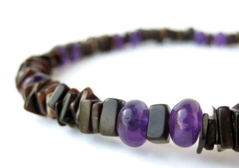 Amethyst Surf mens surfer necklace by Jenny Hoople of Authentic Arts