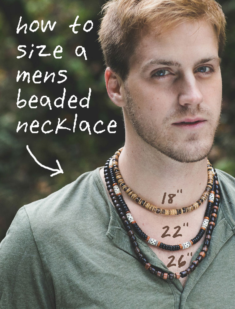 Rugged mens jewelry handmade from natural beads