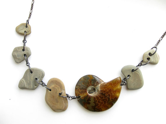 River rock and ammonite fossil necklace for nature goddesses. (by Jenny Hoople of Authentic Arts)