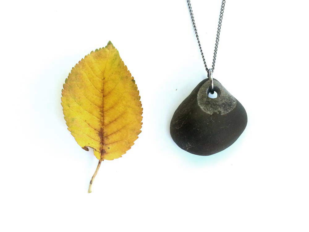 River rock necklace for women who walk forest trails at dawn. By Jenny Hoople of Authentic Arts