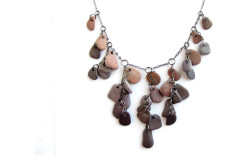 River rock necklace to release your inner nature goddess. Handmade in natural reds and purples by Jenny Hoople of Authentic Arts.