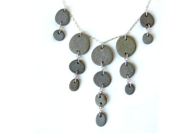 Finally! Something to wear to your art gallery opening ;) -- sterling silver and beach stone necklace for a nature goddesses by Jenny Hoople of Authentic Arts.