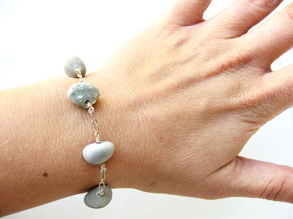 Natural stone bracelet for a woman who believes more in rocks and streams and mountains than in diamond mines and factories and department store jewelry counters!