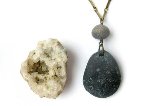 Natural stone jewelry for nature goddesses in hiding (real river stone and vintage raw brass chain).