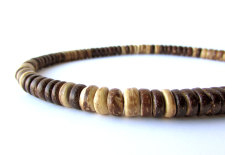 Men's wood bead necklace for hikers of the world handcrafted by Jenny Hoople of Authentic Arts