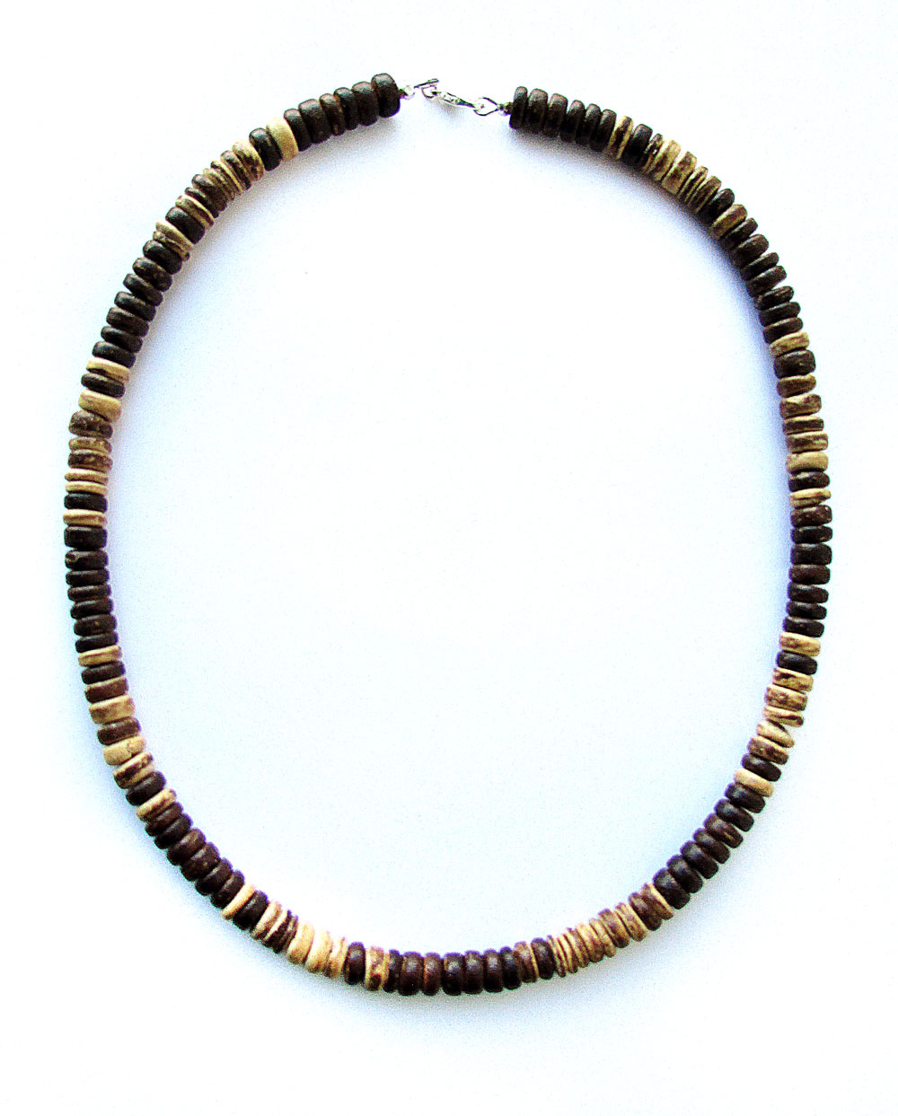 woodgrain mens beaded necklace for hikers of the