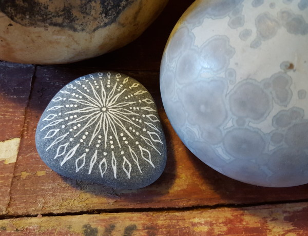 Mandala stone sculptures by Jenny Hoople of Authentic Arts