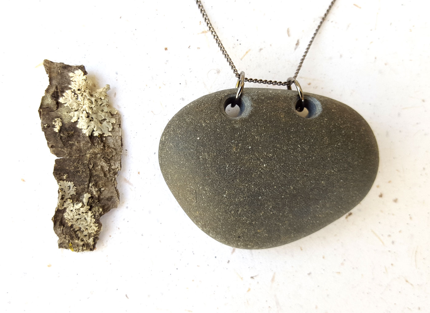 River stone necklace by Jenny Hoople of Authentic Arts