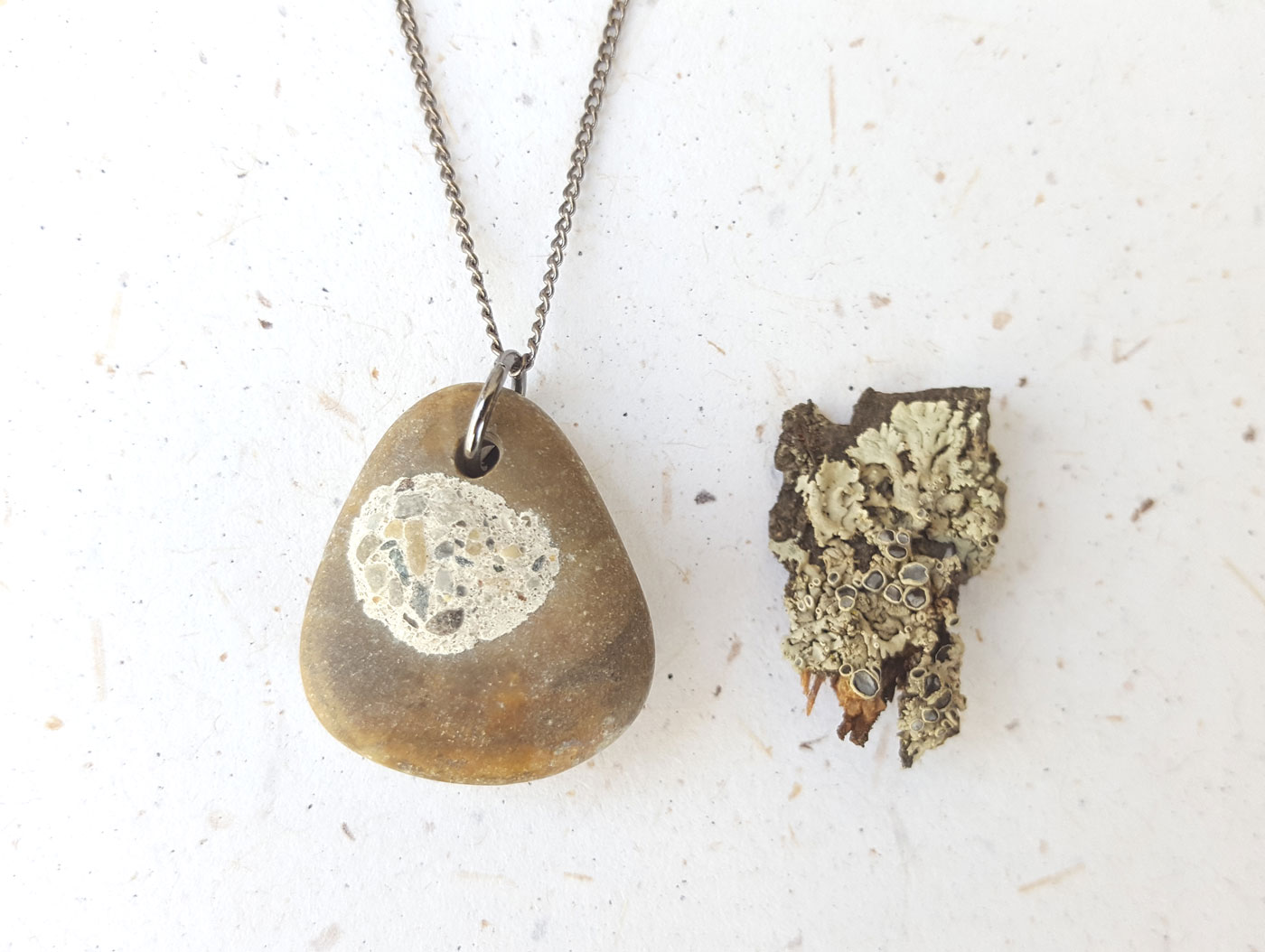 Beach stone necklace by Jenny Hoople of Authentic Arts