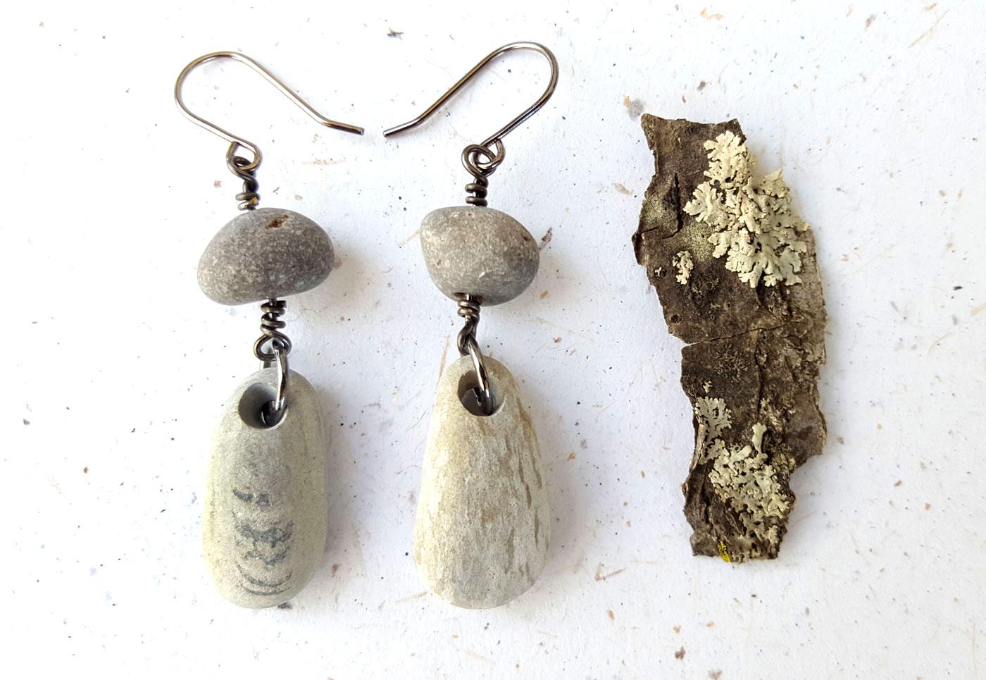 River rock earrings by Jenny Hoople of Authentic Arts