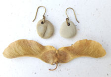 Beach stone earrings by Jenny Hoople of Authentic Arts