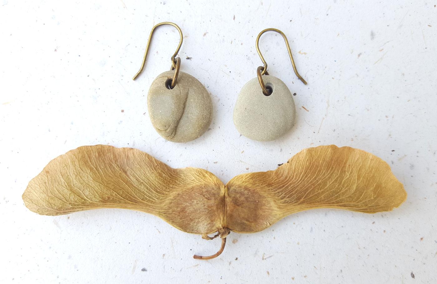 Beach stone earrings by Jenny Hoople of Authentic Arts