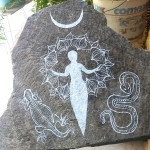 Reptile Goddess stone painting by Jenny Hoople of Authentic Arts