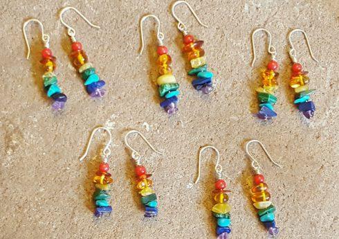 little rainbow gemstone earrings by jenny hoople of authentic arts