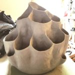 Honeycomb Vessel in progress. A ceramic sculpture by Jenny Hoople