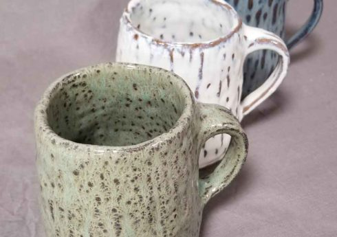 Hand built pottery mugs by Jenny Hoople of Authentic Arts
