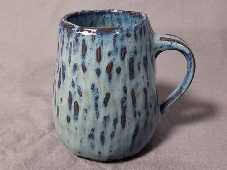Lake Blue hand built pottery mug by Jenny Hoople of Authentic Arts