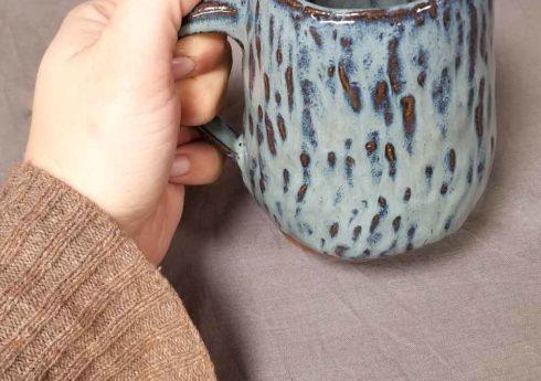 Lake Blue hand built pottery mug by Jenny Hoople of Authentic Arts