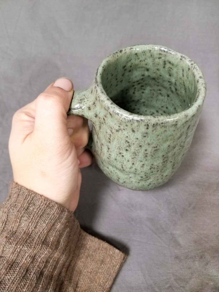Lichen Green hand built pottery mug by Jenny Hoople of Authentic Arts
