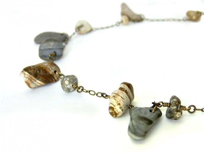 "Natural Stone and Brass Necklace ""Bits and Pieces"" by Authentic Arts"